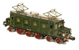 Spielzeugjahrbaumusters des Zinnblechs Bahnlokomotive des deutschen Stockfoto