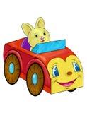Spielzeugkaninchen im roten Auto stock abbildung