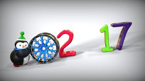 Spielzeugpinguin des guten Rutsch ins Neue Jahr 3d Stockfotos