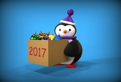 Spielzeugpinguin des guten Rutsch ins Neue Jahr 3d Lizenzfreie Stockbilder