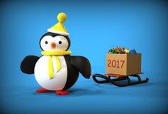 Spielzeugpinguin des guten Rutsch ins Neue Jahr 3d Stockbilder