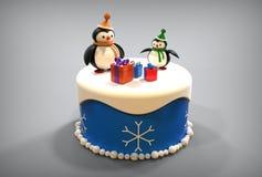 Spielzeugpinguine des guten Rutsch ins Neue Jahr 3d auf Kuchen Stockfotografie