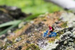 Spielzeugradfahrer-Umwelttourismuskonzept Stockbilder