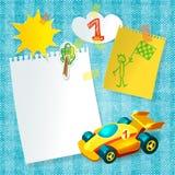 Spielzeugrennwagenpapier-Postkartenschablone Stockfotos