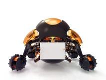 Spielzeugroboter, der leeres Brett hält Stockfotografie