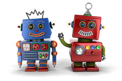 Spielzeugroboterfreunde Stockfotografie