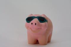 Spielzeugschwein mit Sonnenbrille Stockfoto