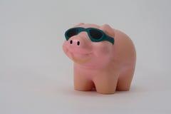 Spielzeugschwein mit Sonnenbrille Stockbild