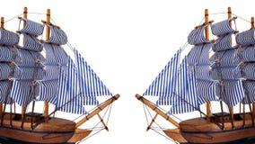 Spielzeugsegelnboot auf weißem Hintergrund Lizenzfreie Stockbilder