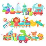 Spielzeugstapel Kinderspielwarengruppen Karikaturbaby - Puppe und Zug, Ball und Autos, Boot lokalisierter Kindervektorsatz vektor abbildung
