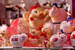 Spielzeugsymbole des Schwein-Neuen Jahres Lizenzfreies Stockfoto