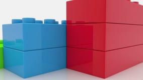Spielzeugziegelsteine in drei Farben stock video