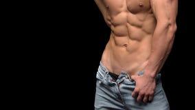 Spier en sexy shirtless mens met perfecte abs en borst royalty-vrije stock afbeeldingen