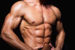 Spier en sexy torso van de jonge sportieve mens met stock fotografie