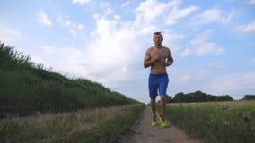 Spiermens die bij landweg lopen Jonge atletische kereljogging bij landelijke sleep over het gebied Mannelijke sportman opleiding Stock Foto's