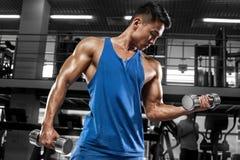 Spiermens die in gymnastiek uitwerken die oefeningen voor bicepsen, sterk mannetje doen stock foto's