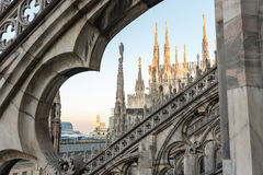 Spiers του καθεδρικού ναού του Μιλάνου, Ιταλία Στοκ εικόνα με δικαίωμα ελεύθερης χρήσης