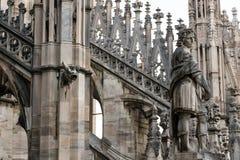 Spiers de Milan Cathedral, Itália Fotos de Stock Royalty Free