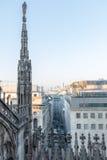 Spiers Mediolańska katedra, Włochy Fotografia Royalty Free