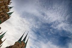 Spiers and sky. City center. Erfurt, Germany. Spiers and blue sky. City center. Erfurt Germany royalty free stock image