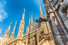 Spiers and statues on the gothic Cathedral of Milan, Italy Royalty Free Stock Photo