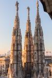 Spiers van Milan Cathedral, Italië Royalty-vrije Stock Afbeeldingen
