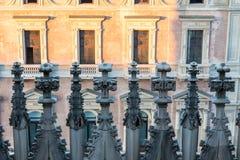 Spiers van Milan Cathedral, Italië Stock Foto