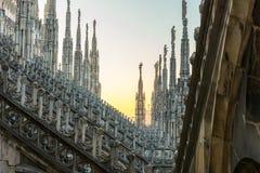 Spiers van Milan Cathedral, Italië Royalty-vrije Stock Foto
