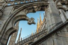 Spiers von Milan Cathedral, Italien stockfotos