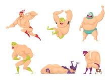 Spierworstelaar Mmavechter in de speciale geïsoleerde karakters van luchador vectormensen van kostuum Mexicaanse libre buitenspor vector illustratie