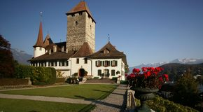 Spiez Castle. In the town of Spiez, Switzerland, on Lake Thun. The lower part of the castle keep dates back to the 10th century Royalty Free Stock Image