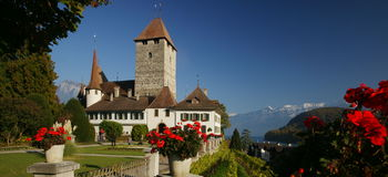 Spiez Castle. In the town of Spiez, Switzerland, is located on Lake Thun Stock Photography