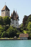 Spiez Castle. This is beautiful Spiez castle located at the lake of Thun in Switzerland. It is a museum and can get visited Stock Photos
