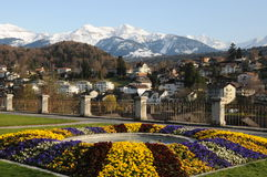 Spiez Castle Garden. This is the beautiful arranged castle garden of Spiez, in Switzerland. With the view of the Bernese alps in the background Stock Image