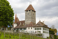 Spiez Castle on a hill Royalty Free Stock Photo
