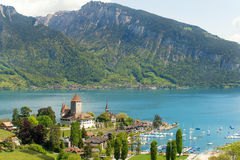 Spiez castle on lake Thun in Bern, Switzerland Stock Images