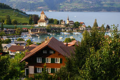 Spiez castle on the lake Thun, Switzerland Royalty Free Stock Images