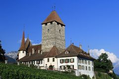 Spiez. The castle of Spiez a medieval village in Switzerland, with vineyard, a sunny day Royalty Free Stock Images