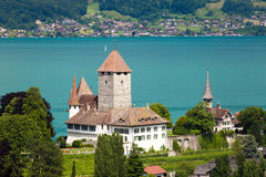 Spiez Castle. Is a castle in the municipality of Spiez of the Swiss canton of Bern. It is a Swiss heritage site of national significance Stock Images