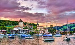 Free Spiez Castle On Lake Thun In Switzerland Royalty Free Stock Images - 215777679