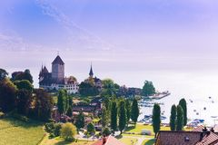 Spiez castle on Thun lake Royalty Free Stock Photos
