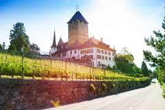 Spiez castle on Thun lake Royalty Free Stock Photography