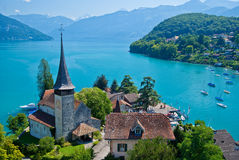 Spiez church, lake thun, spiez, switzerland. Spiez church, and lake thun, view from spiez castle, switzerland Stock Images