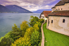 Spiez church, lake thun, spiez, switzerland. Stock Photos
