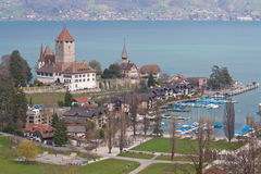 Spiez Church with Lake of Thun Switzerland. Top view Royalty Free Stock Photo