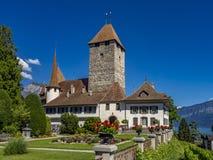 Spiez kasztel, Jeziorny Thun, Bernese Oberland, Szwajcaria obrazy royalty free