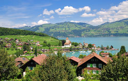 Spiez,lake thun. Holiday resort of spiez on lake thun in the bernese oberland Royalty Free Stock Photography