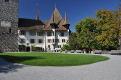 Spiez Swiss medieval castle, Switzerland Royalty Free Stock Images