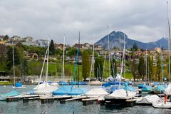 Marina near the residential district Stock Photo