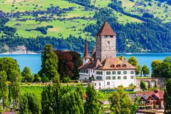 Spiez, Switzerland. Spiez castle by Thun lake in the Berner Oberland stock images
